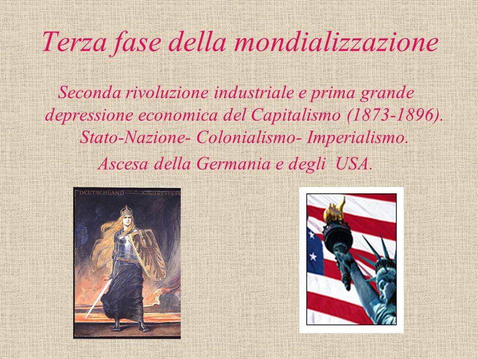 Terza fase della mondializzazione Seconda rivoluzione industriale e prima grande depressione economica del Capitalismo (1873-1896). Stato-Nazione- Col