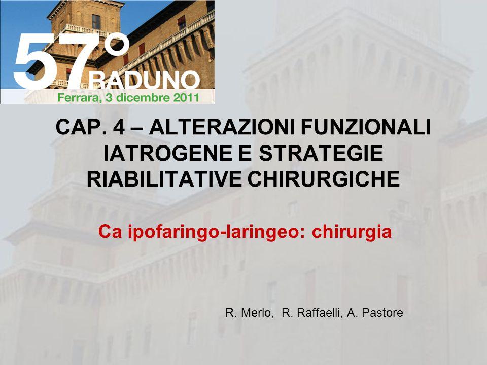 Ca ipofaringo-laringeo: chirurgia CAP. 4 – ALTERAZIONI FUNZIONALI IATROGENE E STRATEGIE RIABILITATIVE CHIRURGICHE R. Merlo, R. Raffaelli, A. Pastore