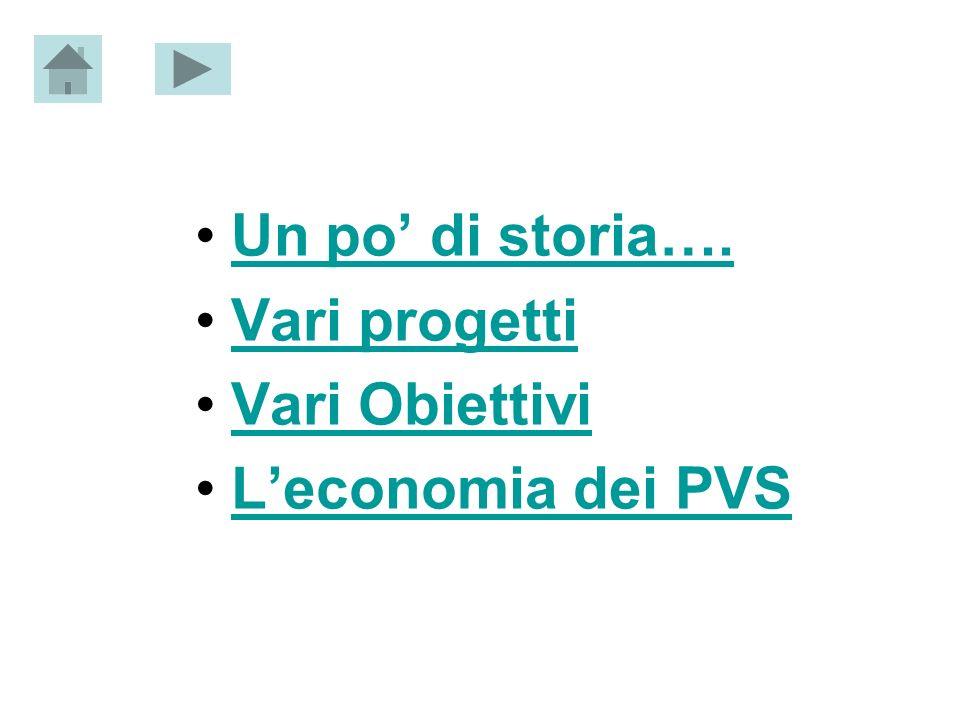 Un po di storia…. Vari progetti Vari Obiettivi Leconomia dei PVS