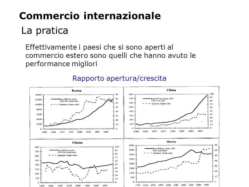 La pratica Commercio internazionale Effettivamente i paesi che si sono aperti al commercio estero sono quelli che hanno avuto le performance migliori