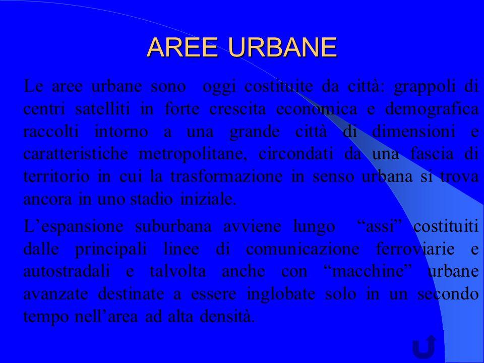 AREE URBANE Le aree urbane sono oggi costituite da città: grappoli di centri satelliti in forte crescita economica e demografica raccolti intorno a una grande città di dimensioni e caratteristiche metropolitane, circondati da una fascia di territorio in cui la trasformazione in senso urbana si trova ancora in uno stadio iniziale.