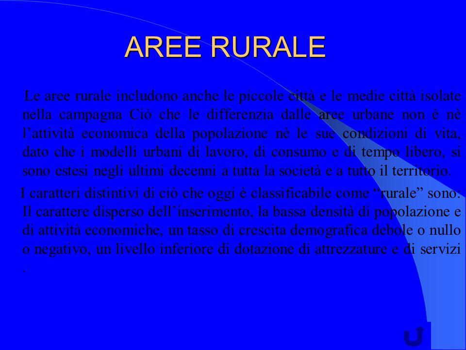 AREE RURALE Le aree rurale includono anche le piccole città e le medie città isolate nella campagna Ciò che le differenzia dalle aree urbane non è nè
