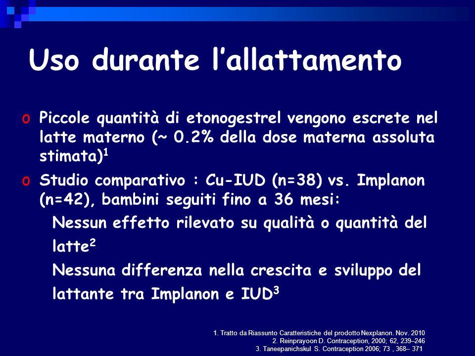 Uso durante lallattamento o Piccole quantità di etonogestrel vengono escrete nel latte materno (~ 0.2% della dose materna assoluta stimata) 1 o Studio comparativo : Cu-IUD (n=38) vs.
