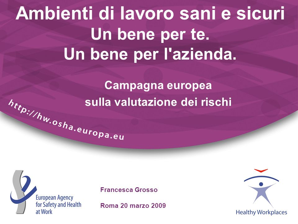 Francesca Grosso Roma 20 marzo 2009 Ambienti di lavoro sani e sicuri Un bene per te. Un bene per l'azienda. Campagna europea sulla valutazione dei ris
