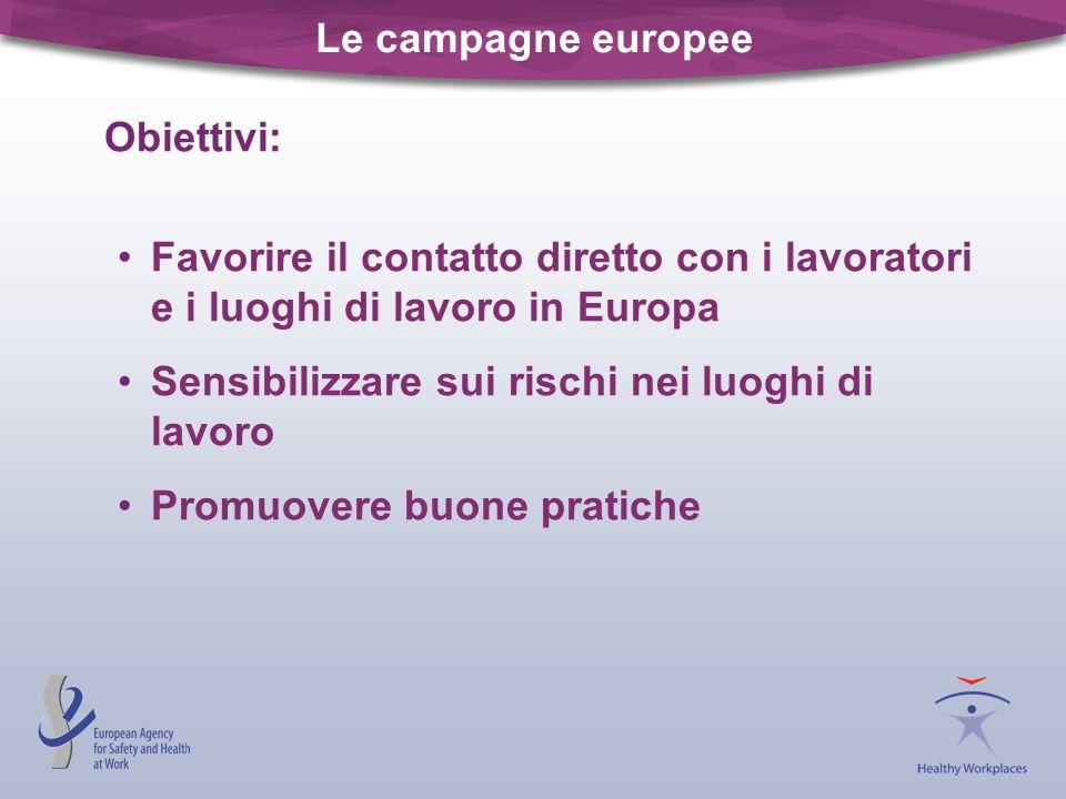 Le campagne europee Obiettivi: Favorire il contatto diretto con i lavoratori e i luoghi di lavoro in Europa Sensibilizzare sui rischi nei luoghi di la