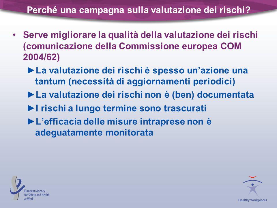 Perché una campagna sulla valutazione dei rischi? Serve migliorare la qualità della valutazione dei rischi (comunicazione della Commissione europea CO