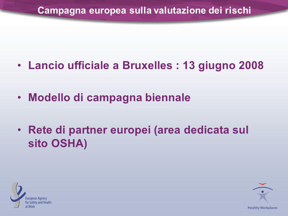 Campagna europea sulla valutazione dei rischi Lancio ufficiale a Bruxelles : 13 giugno 2008 Modello di campagna biennale Rete di partner europei (area