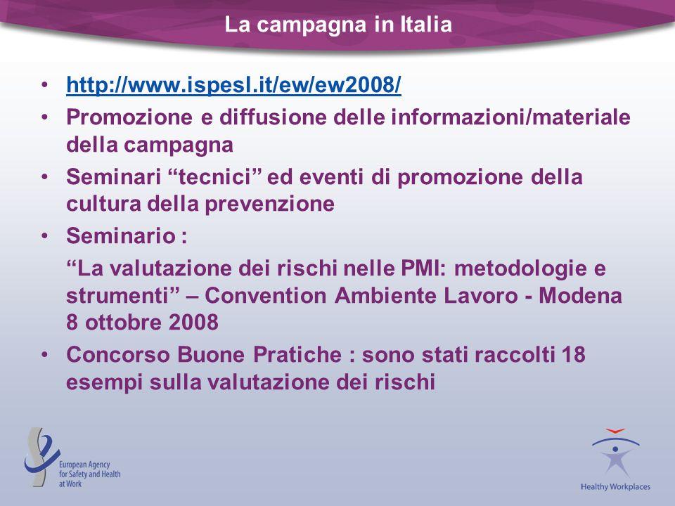 La campagna in Italia http://www.ispesl.it/ew/ew2008/ Promozione e diffusione delle informazioni/materiale della campagna Seminari tecnici ed eventi d
