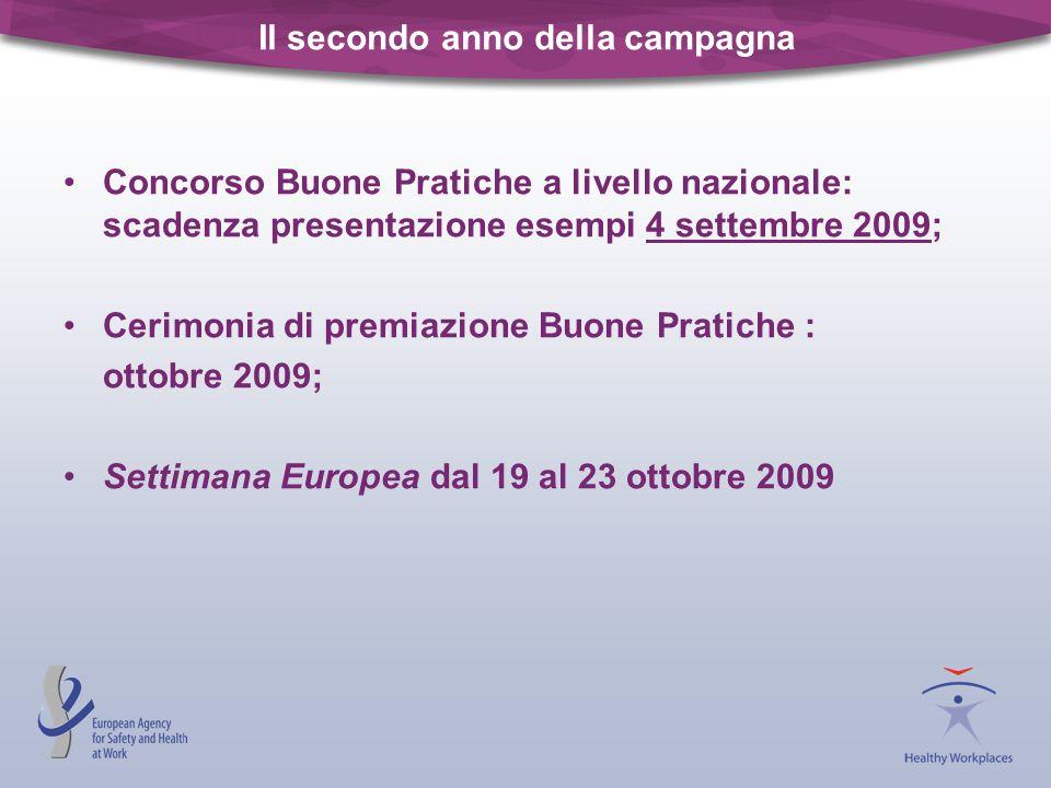 Il secondo anno della campagna Concorso Buone Pratiche a livello nazionale: scadenza presentazione esempi 4 settembre 2009; Cerimonia di premiazione B