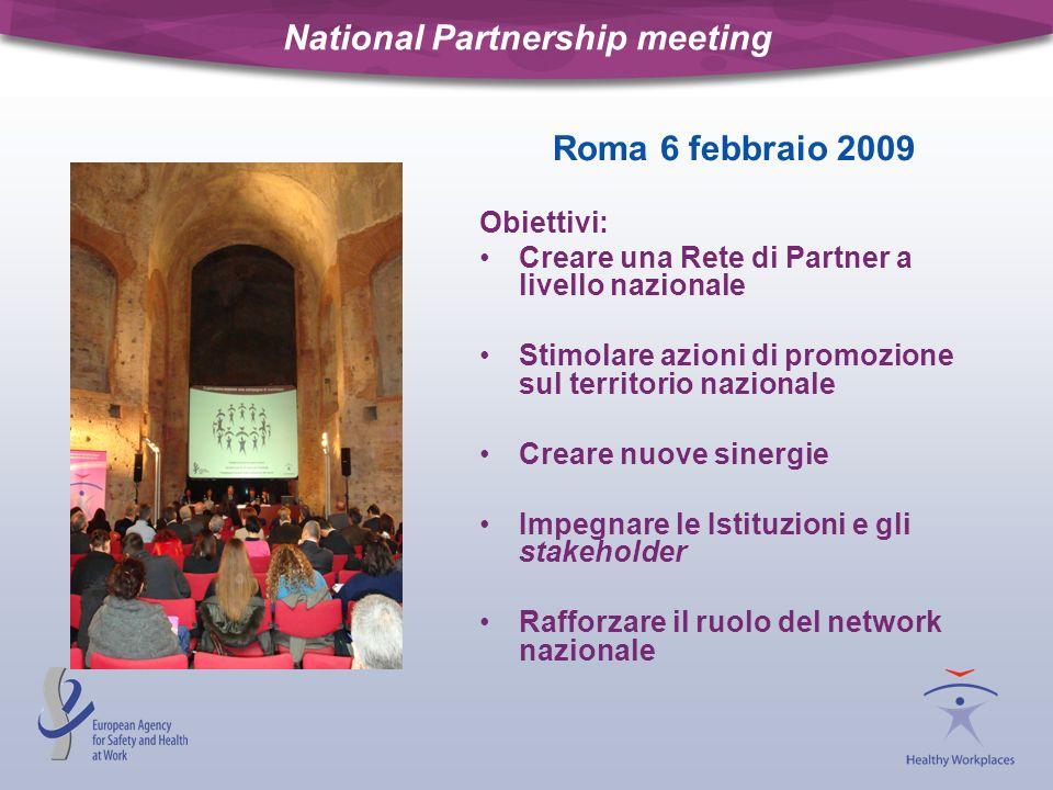 National Partnership meeting Roma 6 febbraio 2009 Obiettivi: Creare una Rete di Partner a livello nazionale Stimolare azioni di promozione sul territo