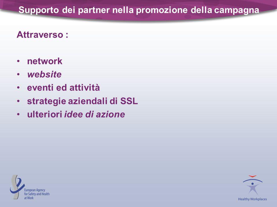 Supporto dei partner nella promozione della campagna Attraverso : network website eventi ed attività strategie aziendali di SSL ulteriori idee di azio
