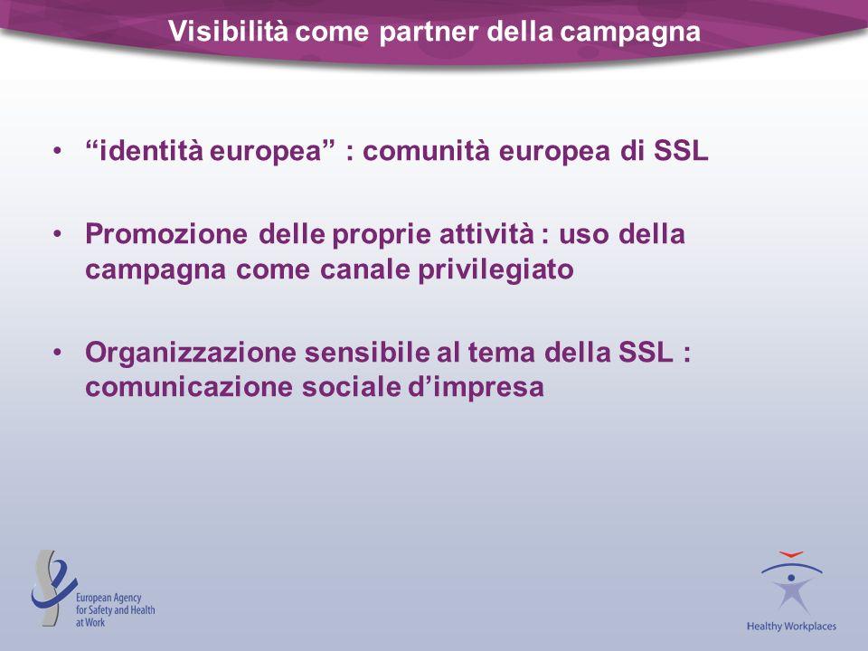 Visibilità come partner della campagna identità europea : comunità europea di SSL Promozione delle proprie attività : uso della campagna come canale p