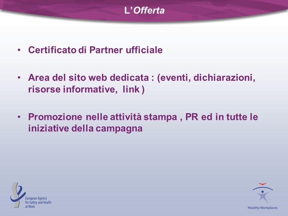 LOfferta Certificato di Partner ufficiale Area del sito web dedicata : (eventi, dichiarazioni, risorse informative, link ) Promozione nelle attività s