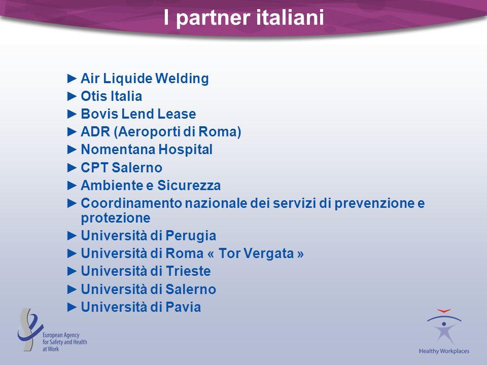 I partner italiani Air Liquide Welding Otis Italia Bovis Lend Lease ADR (Aeroporti di Roma) Nomentana Hospital CPT Salerno Ambiente e Sicurezza Coordi