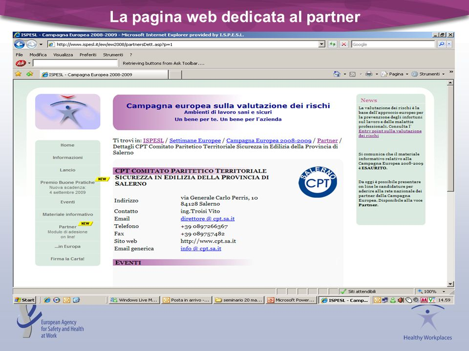 La pagina web dedicata al partner