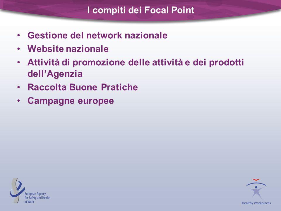 I compiti dei Focal Point Gestione del network nazionale Website nazionale Attività di promozione delle attività e dei prodotti dellAgenzia Raccolta B