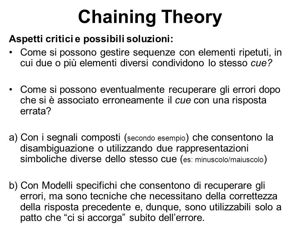 Chaining Theory Aspetti critici e possibili soluzioni: Come si possono gestire sequenze con elementi ripetuti, in cui due o più elementi diversi condi