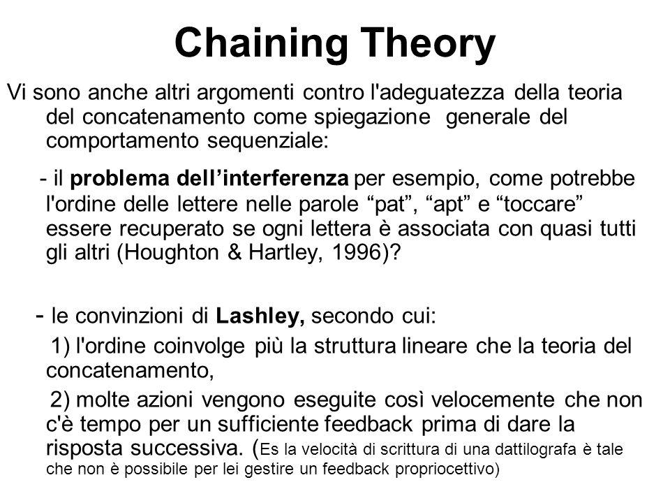 Chaining Theory Vi sono anche altri argomenti contro l'adeguatezza della teoria del concatenamento come spiegazione generale del comportamento sequenz