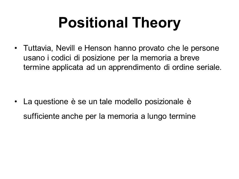 Positional Theory Tuttavia, Nevill e Henson hanno provato che le persone usano i codici di posizione per la memoria a breve termine applicata ad un ap