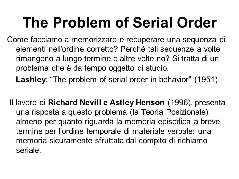 The Problem of Serial Order Come facciamo a memorizzare e recuperare una sequenza di elementi nell'ordine corretto? Perché tali sequenze a volte riman