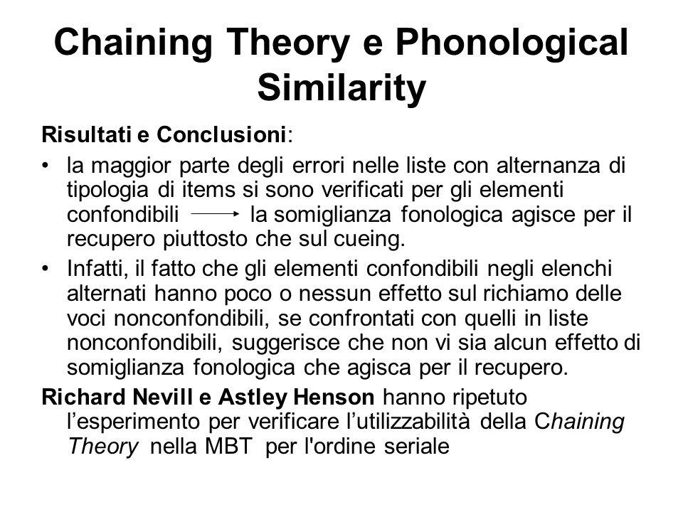 Chaining Theory e Phonological Similarity Risultati e Conclusioni: la maggior parte degli errori nelle liste con alternanza di tipologia di items si s