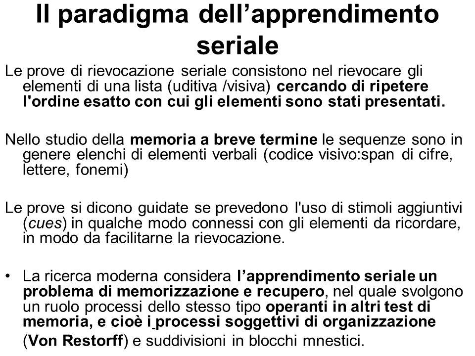 Il paradigma dellapprendimento seriale Le prove di rievocazione seriale consistono nel rievocare gli elementi di una lista (uditiva /visiva) cercando