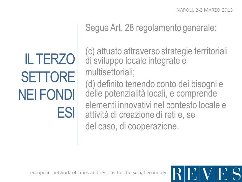 IL TERZO SETTORE NEI FONDI ESI Segue Art. 28 regolamento generale: (c) attuato attraverso strategie territoriali di sviluppo locale integrate e multis