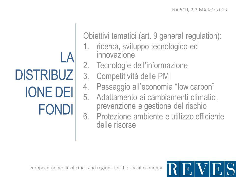 LA DISTRIBUZ IONE DEI FONDI Obiettivi tematici (art. 9 general regulation): 1.ricerca, sviluppo tecnologico ed innovazione 2.Tecnologie dellinformazio