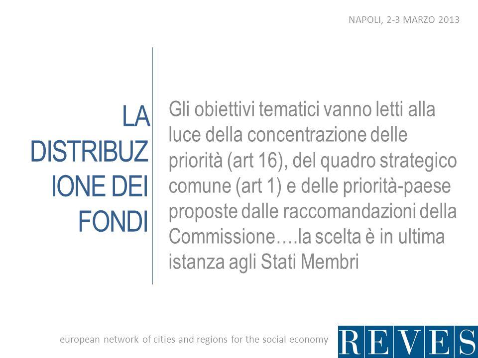 LA DISTRIBUZ IONE DEI FONDI Gli obiettivi tematici vanno letti alla luce della concentrazione delle priorità (art 16), del quadro strategico comune (a