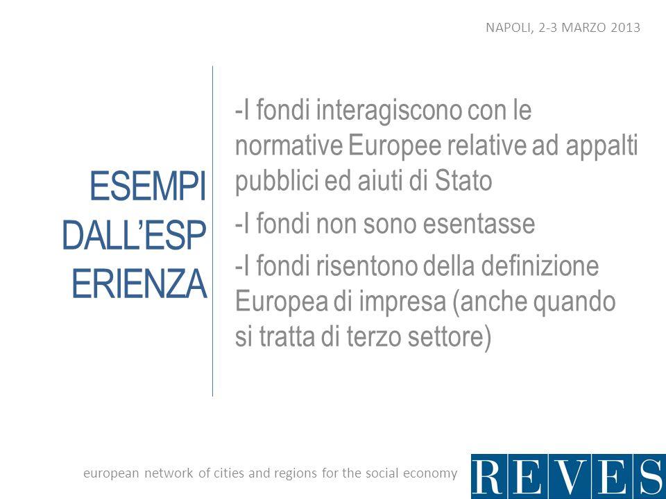 ESEMPI DALLESP ERIENZA -I fondi interagiscono con le normative Europee relative ad appalti pubblici ed aiuti di Stato -I fondi non sono esentasse -I f