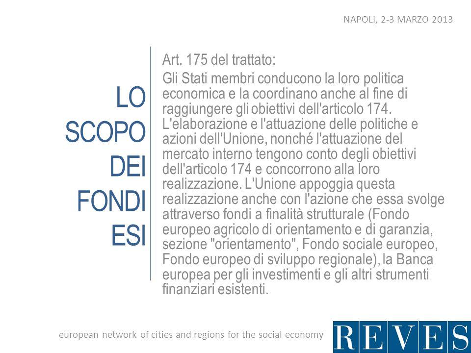 LO SCOPO DEI FONDI ESI Art. 175 del trattato: Gli Stati membri conducono la loro politica economica e la coordinano anche al fine di raggiungere gli o