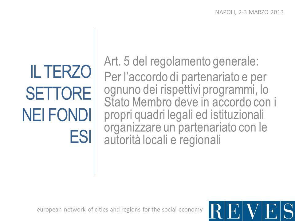 IL TERZO SETTORE NEI FONDI ESI Art. 5 del regolamento generale: Per laccordo di partenariato e per ognuno dei rispettivi programmi, lo Stato Membro de