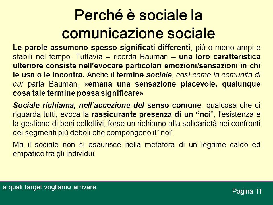 Perché è sociale la comunicazione sociale Le parole assumono spesso significati differenti, più o meno ampi e stabili nel tempo. Tuttavia – ricorda Ba