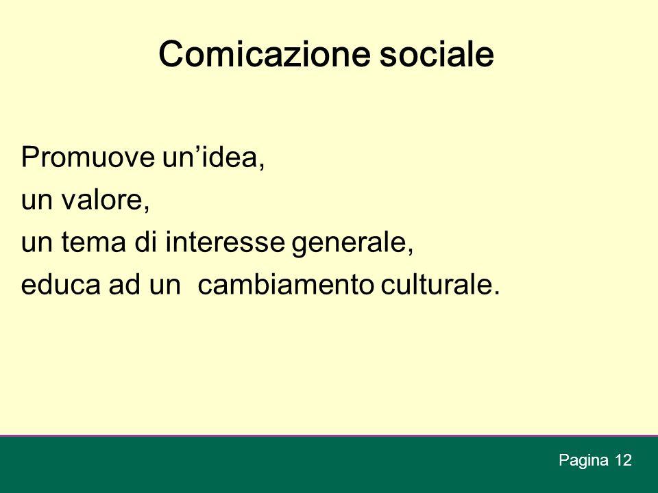 Comicazione sociale Promuove unidea, un valore, un tema di interesse generale, educa ad un cambiamento culturale. Pagina 12