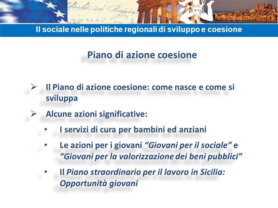Piano di azione coesione Il Piano di azione coesione: come nasce e come si sviluppa Alcune azioni significative: I servizi di cura per bambini ed anzi