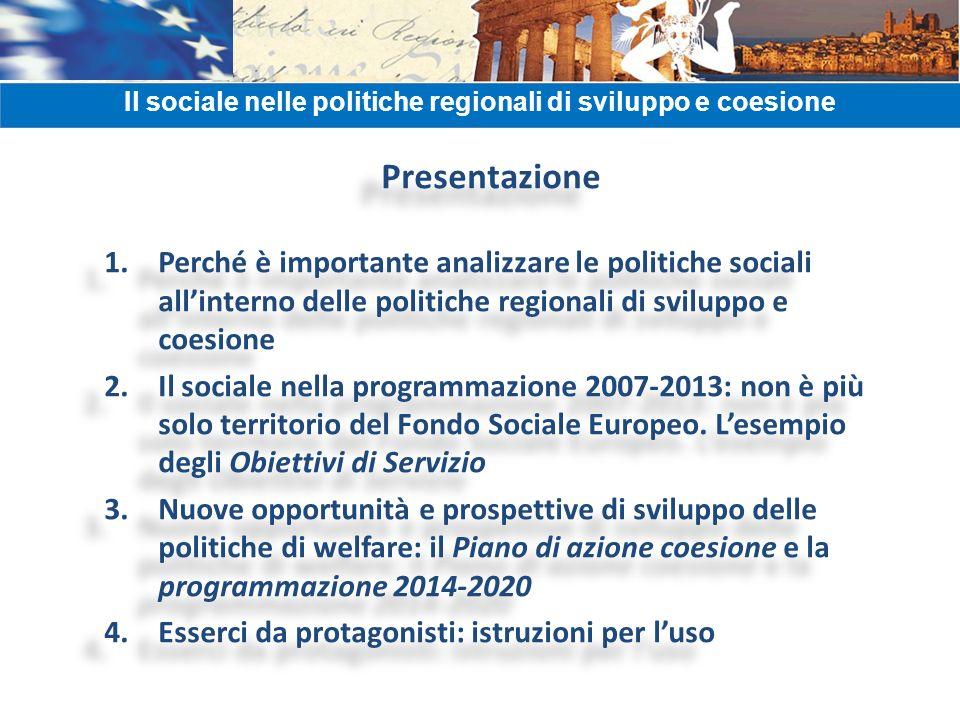 Presentazione 1.Perché è importante analizzare le politiche sociali allinterno delle politiche regionali di sviluppo e coesione 2.Il sociale nella pro