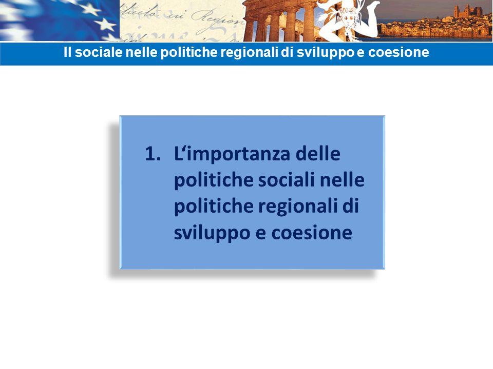 1. Limportanza delle politiche sociali nelle politiche regionali di sviluppo e coesione Il sociale nelle politiche regionali di sviluppo e coesione