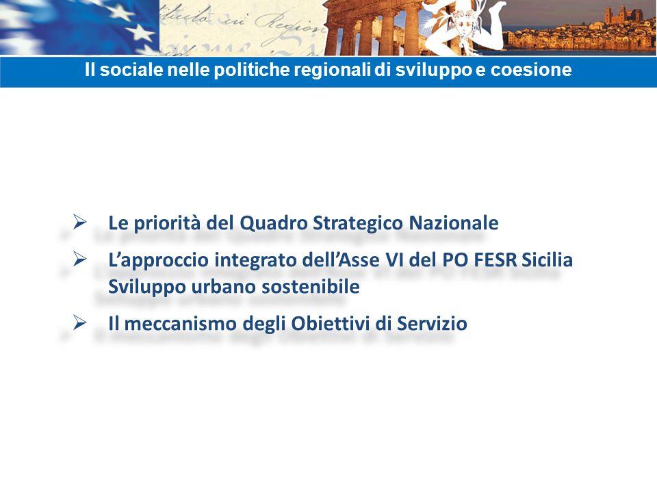 Le priorità del Quadro Strategico Nazionale Lapproccio integrato dellAsse VI del PO FESR Sicilia Sviluppo urbano sostenibile Il meccanismo degli Obiet