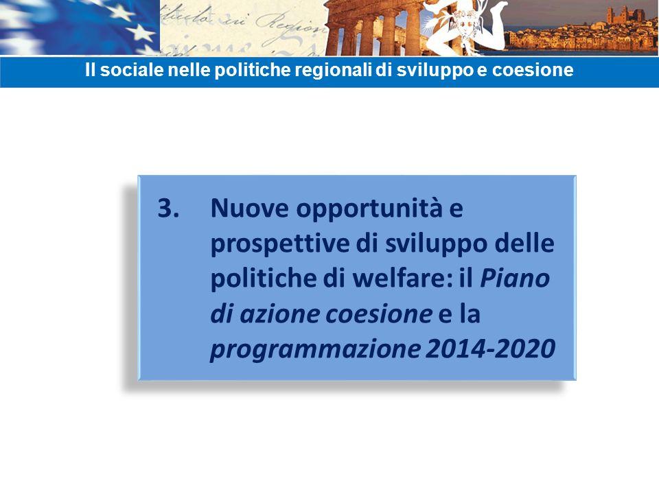 3. Nuove opportunità e prospettive di sviluppo delle politiche di welfare: il Piano di azione coesione e la programmazione 2014-2020 Il sociale nelle