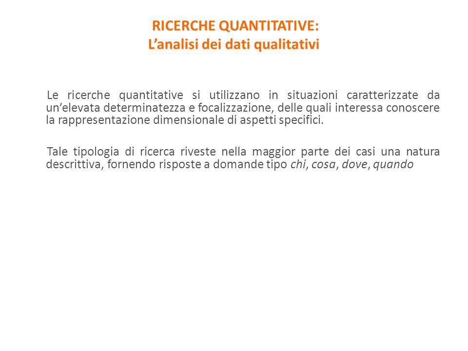 Le ricerche quantitative si utilizzano in situazioni caratterizzate da unelevata determinatezza e focalizzazione, delle quali interessa conoscere la r