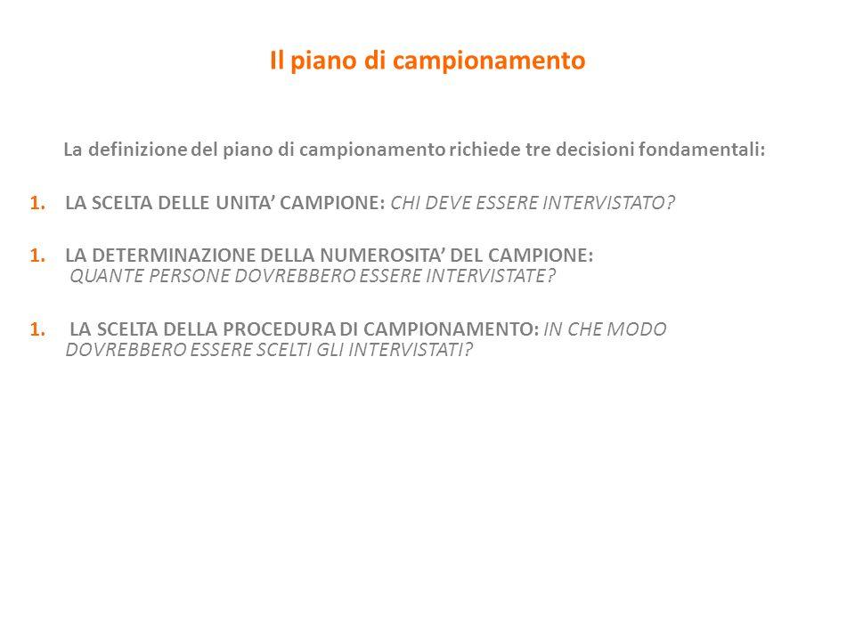 Il piano di campionamento La definizione del piano di campionamento richiede tre decisioni fondamentali: 1.LA SCELTA DELLE UNITA CAMPIONE: CHI DEVE ES