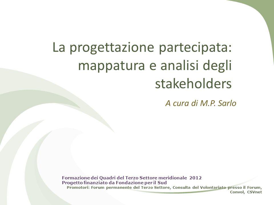 La progettazione partecipata: mappatura e analisi degli stakeholders A cura di M.P. Sarlo Formazione dei Quadri del Terzo Settore meridionale 2012 Pro