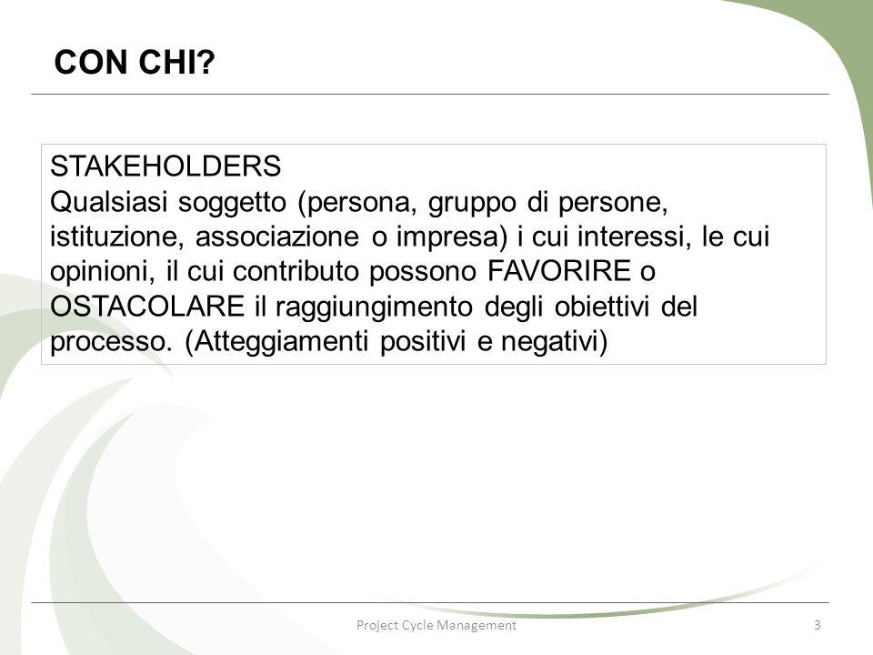 Project Cycle Management3 CON CHI? STAKEHOLDERS Qualsiasi soggetto (persona, gruppo di persone, istituzione, associazione o impresa) i cui interessi,