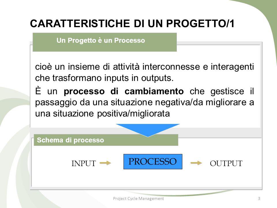 Project Cycle Management4 CARATTERISTICHE DI UN PROGETTO/2 Schema di progetto cioè è scomponibile in attività che rappresentano elementi di lavoro a più bassa complessità.