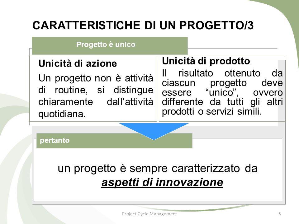 CARATTERISTICHE DI UN PROGETTO/4 Project Cycle Management6 Un progetto ha una data di inizio ed una data di fine.
