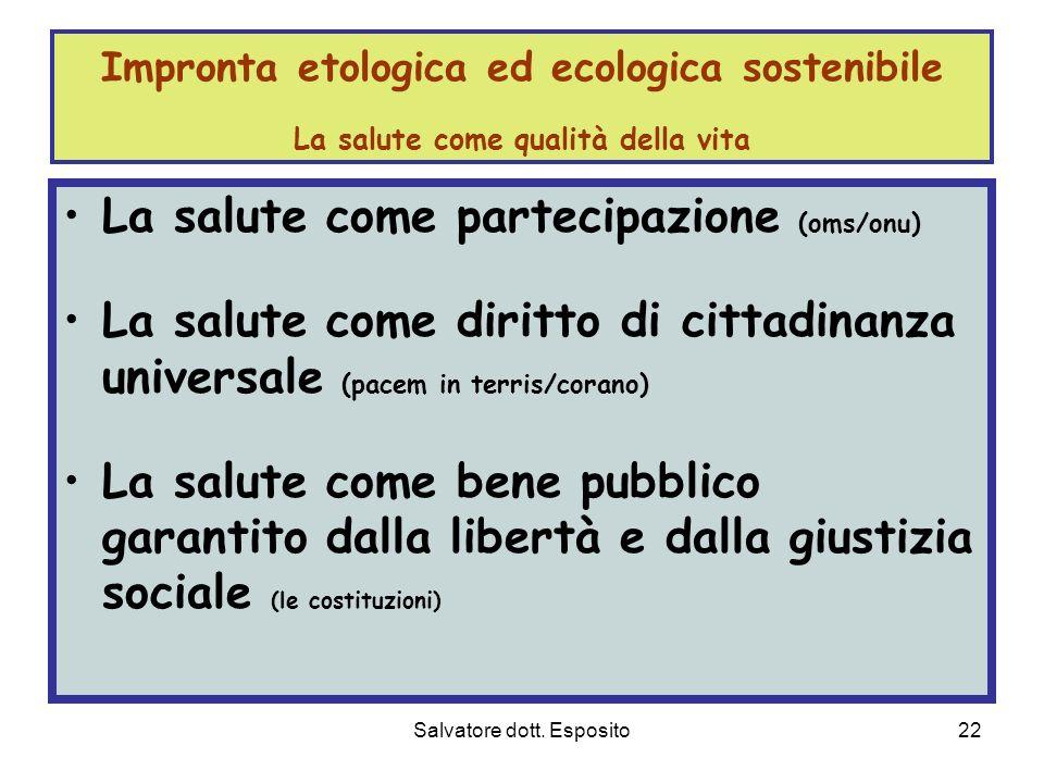 Salvatore dott. Esposito21 Welfare di Comunità Welfare di Comunità e processi macro-economici 1. non cè macroeconomia illuminata, tendente alla giusti