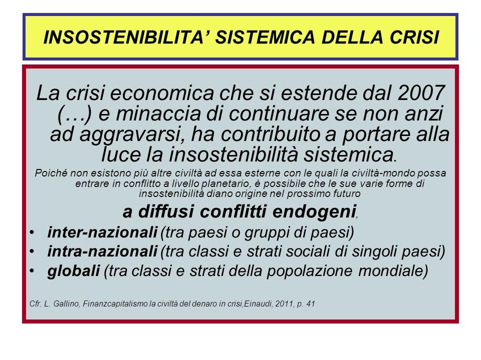 INSOSTENIBILITA SISTEMICA DELLA CRISI La crisi economica che si estende dal 2007 (…) e minaccia di continuare se non anzi ad aggravarsi, ha contribuito a portare alla luce la insostenibilità sistemica.