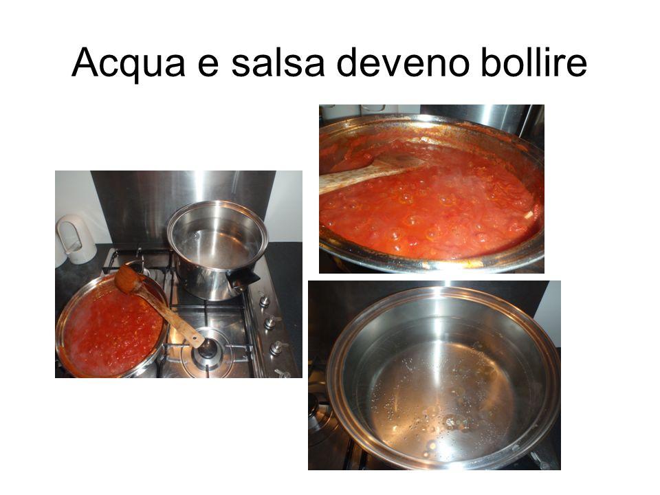 Acqua e salsa deveno bollire
