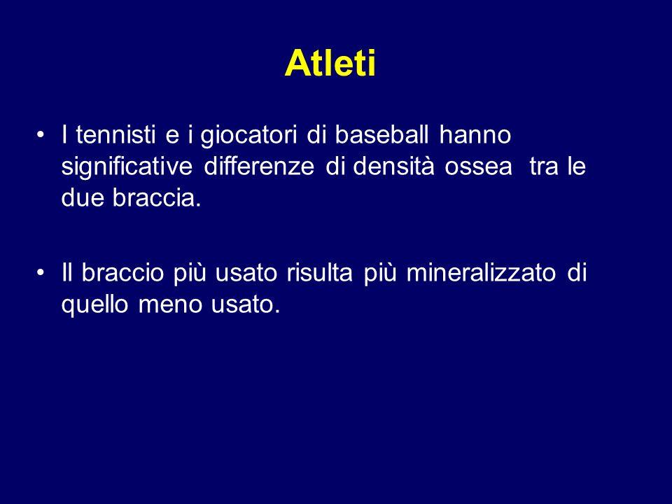 Atleti I tennisti e i giocatori di baseball hanno significative differenze di densità ossea tra le due braccia. Il braccio più usato risulta più miner
