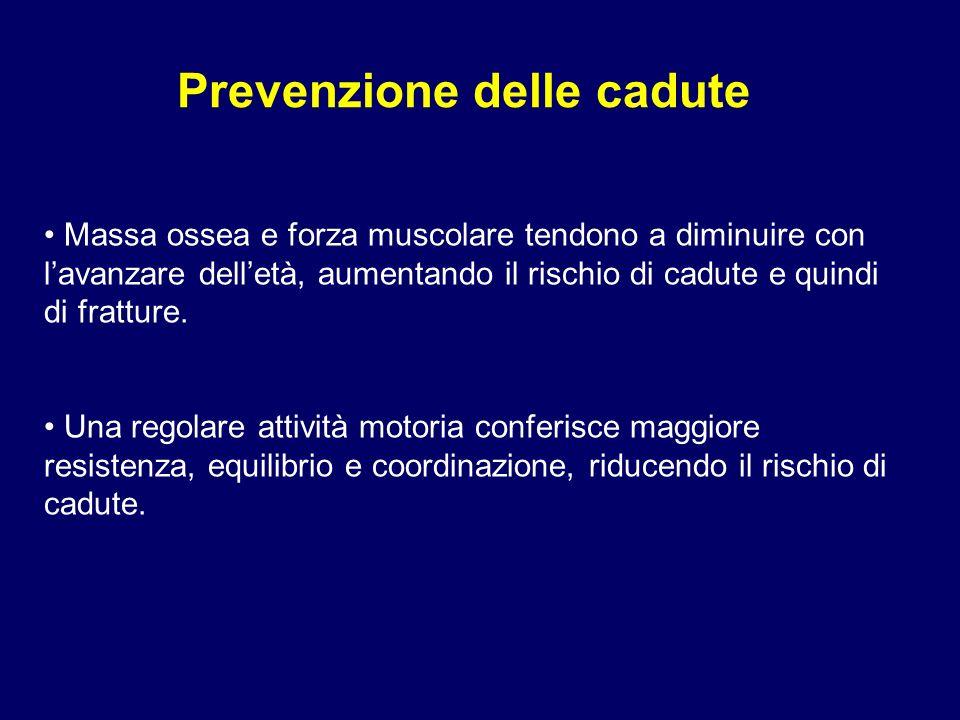 Prevenzione delle cadute Massa ossea e forza muscolare tendono a diminuire con lavanzare delletà, aumentando il rischio di cadute e quindi di fratture